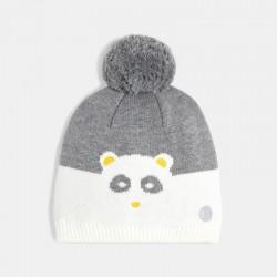 Bonnet tricot panda a pompon