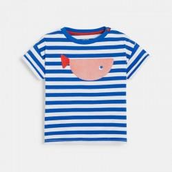 T-shirt raye a motif baleine